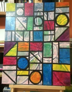 Stained Glass Window Painting in progress.  Notice how I've painted over the Flower Power painting!